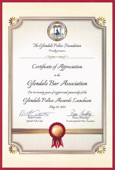 certificate to gba from glendale police foundation